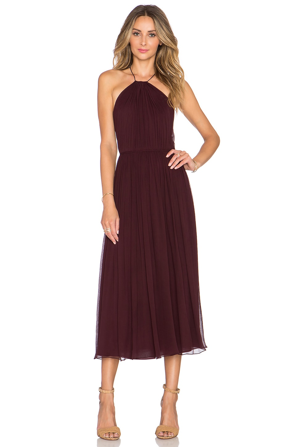 JILL JILL STUART Cross Back Halter Midi Dress in Plum