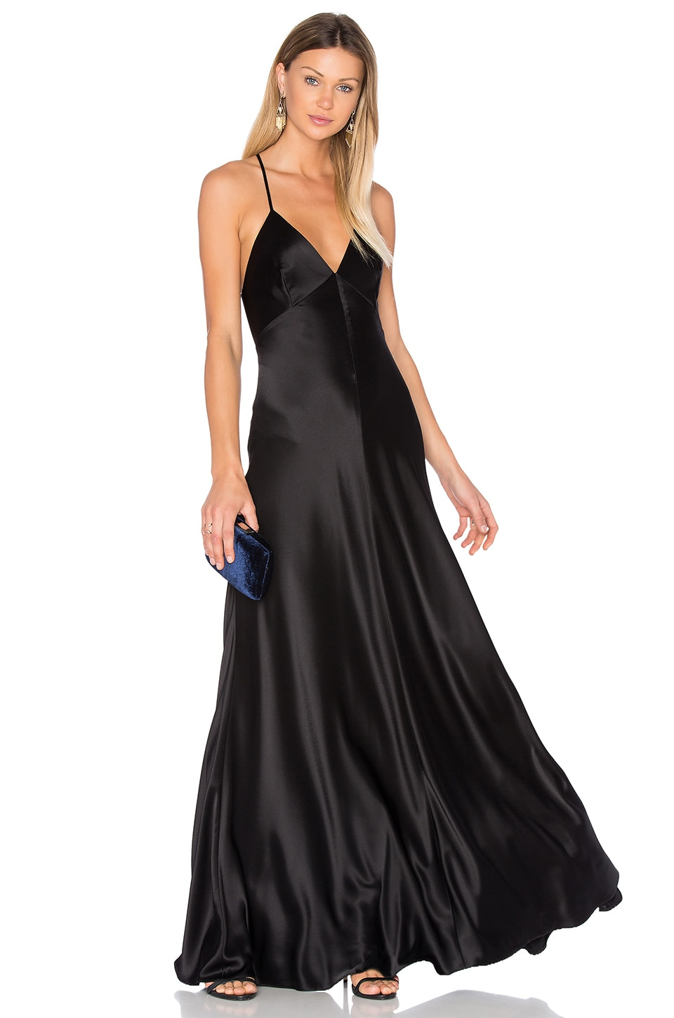 JILL JILL STUART Satin Slip Gown in Black