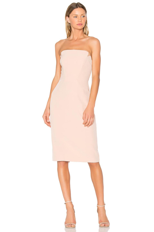 JILL JILL STUART Strapless Midi Dress in Rosy Nude