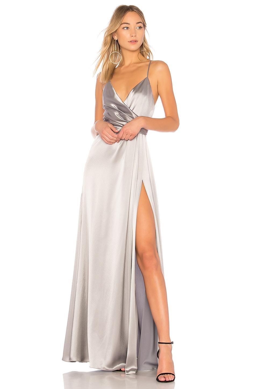 JILL JILL STUART Metallic Wrap Gown in Silver Grey | REVOLVE