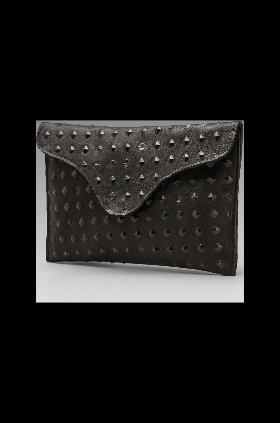 JJ Winters Envelope Clutch in Black Pyramid