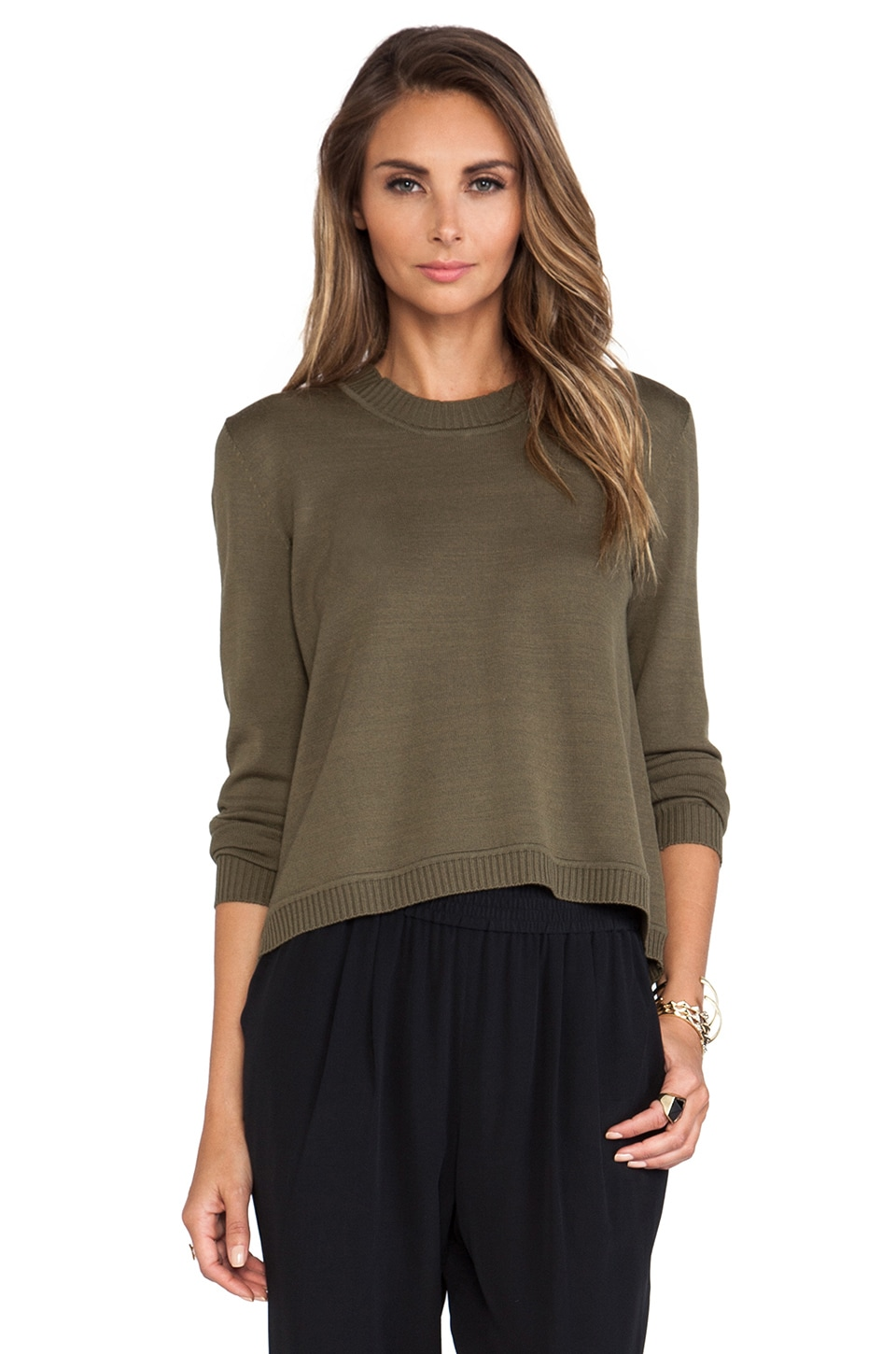 Jenni Kayne Open Back Sweater in Military