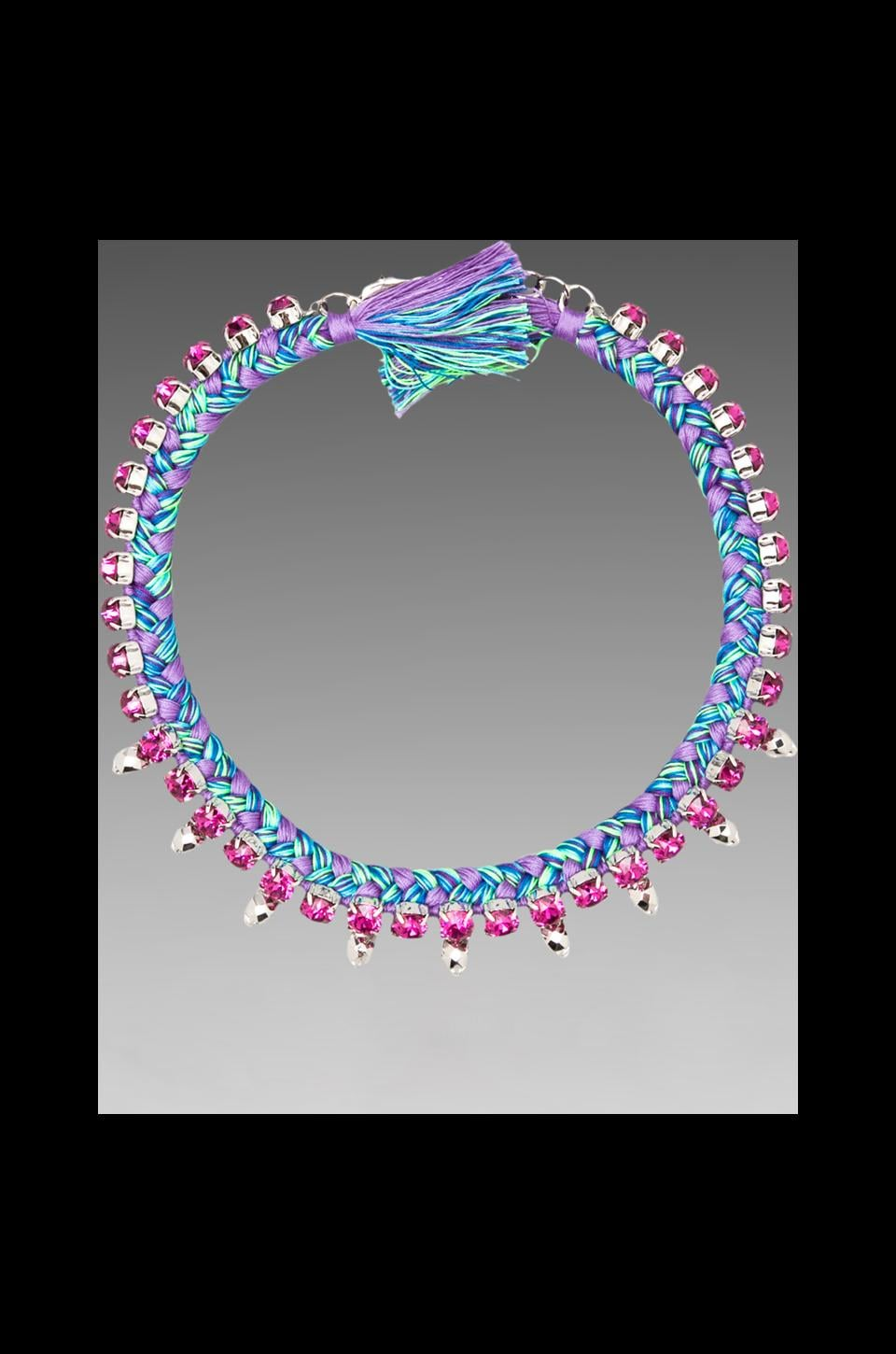 JOOMI LIM Crystal & Skulls Braided Choker in Rhodium/ Purple Blue Combo