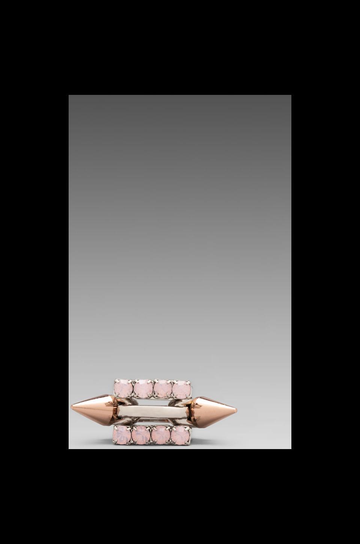JOOMI LIM Set of 3 Rings Crystal & Rose Gold Spike in Rose Opal