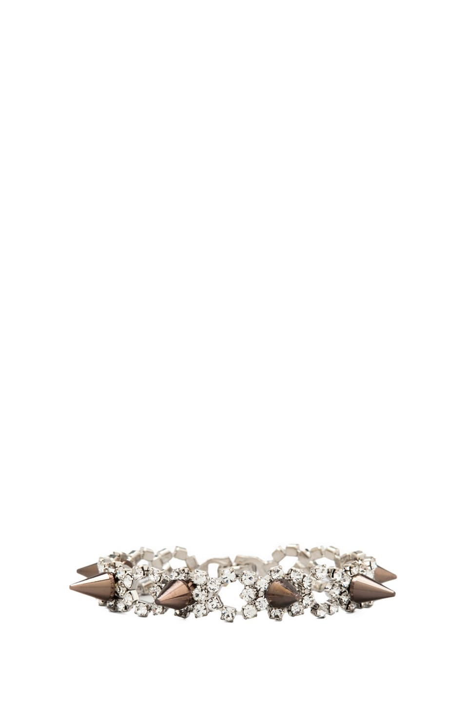 JOOMI LIM Crystal & Spike Bracelet in Crystal/Brown Spikes