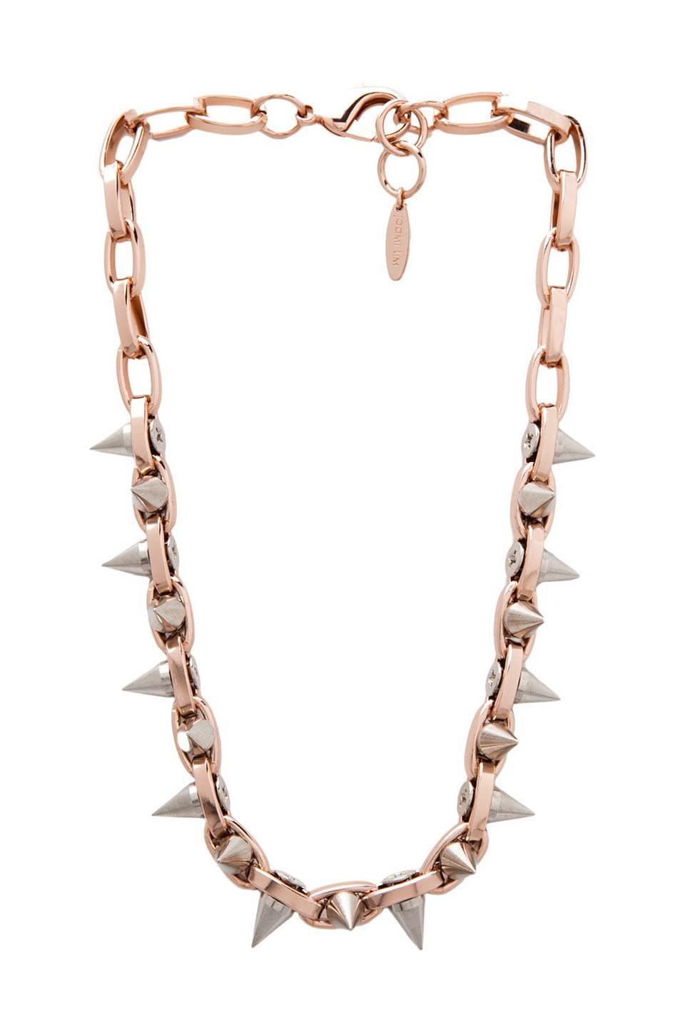 JOOMI LIM Double Row Spike Choker in Rose Gold/Silver Spikes