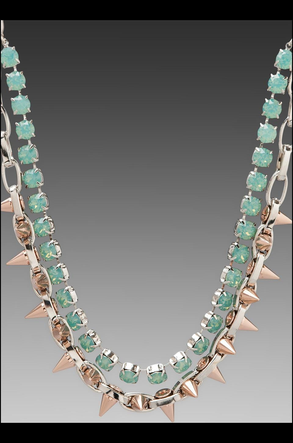 JOOMI LIM Crystal & Spike Choker w/ Rhodium and Rose Gold Spikes in Pacific Opal