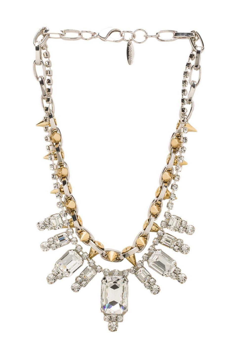 JOOMI LIM Baroque Crystal & Spike Necklace in Crystal/Rhodium/Gold Spikes