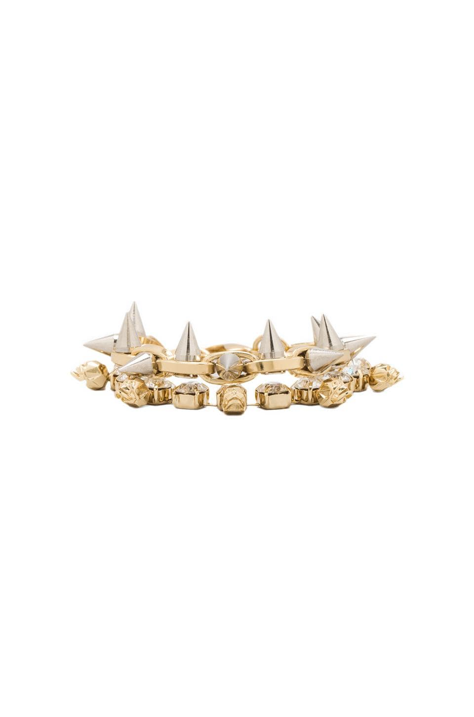 JOOMI LIM Crystal Skull & Spike Bracelet in Crystal/Gold/Silver Spikes