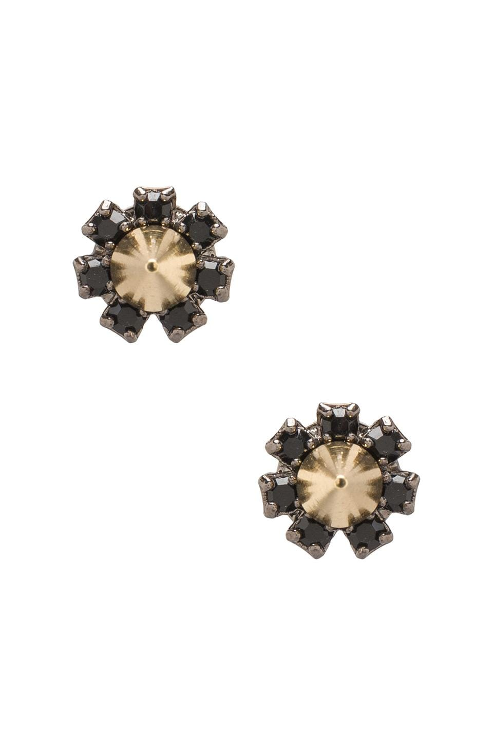 JOOMI LIM Crystal Stud Earrings w/ Spikes in Jet/Gold Spikes