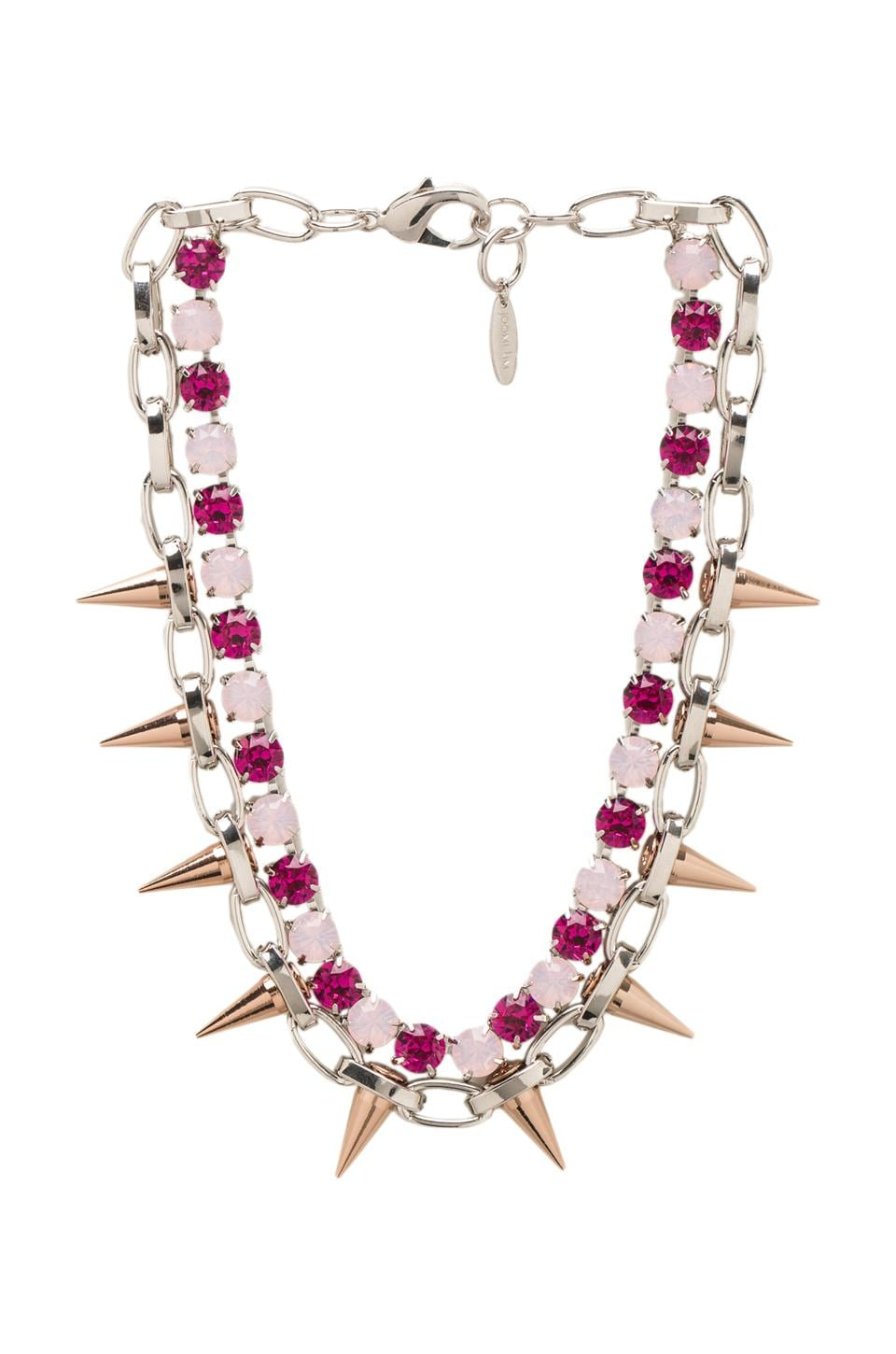 JOOMI LIM Crystal & Spike Choker in Pink/Rhodium/Rose Gold Spikes