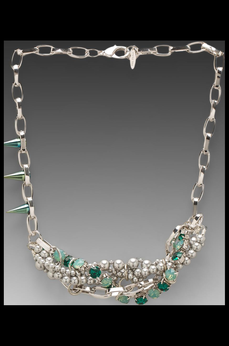 JOOMI LIM Crystal & Pearl Woven Necklace w/ Spikes in Green/Grey Pearls