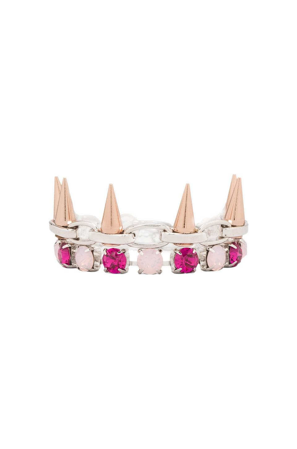 JOOMI LIM Crystal & Spike Bracelet in Pink/Rhodium/Rose Gold Spikes