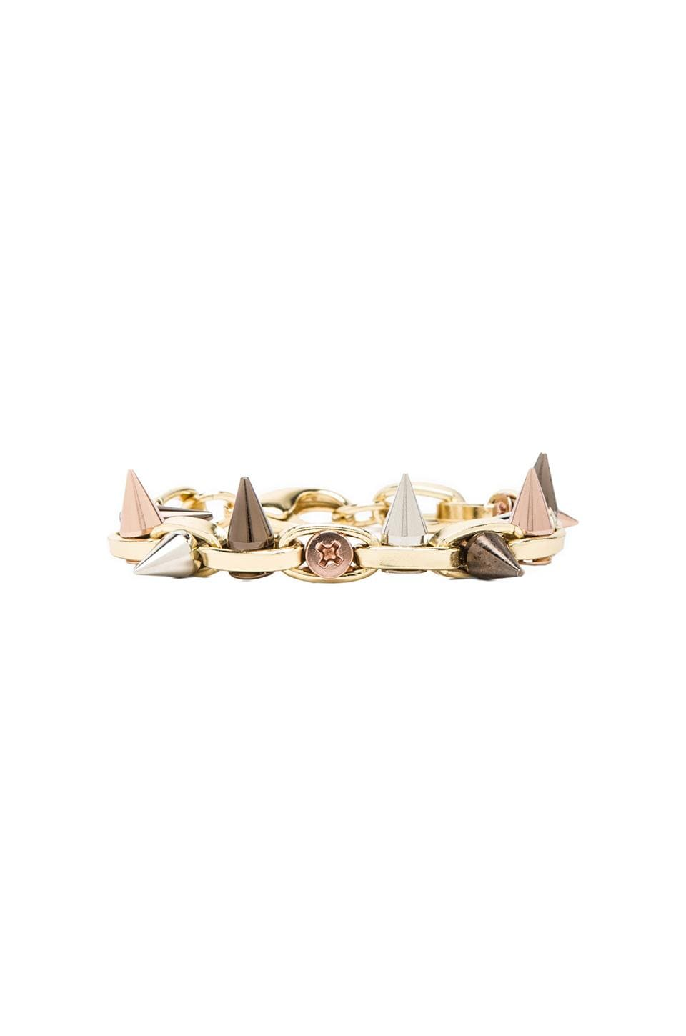 JOOMI LIM Double Row Spike Bracelet in Gold/Mixed Spikes