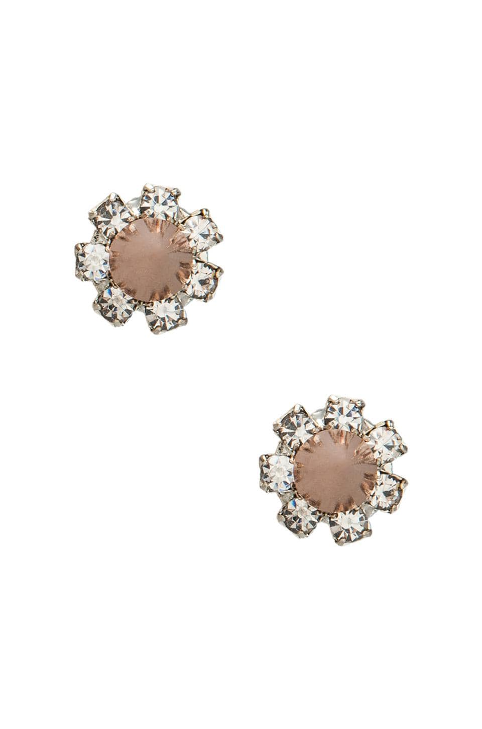 JOOMI LIM Crystal Stud Earrings w/ Spikes in Crystal/ Rose Gold Spikes