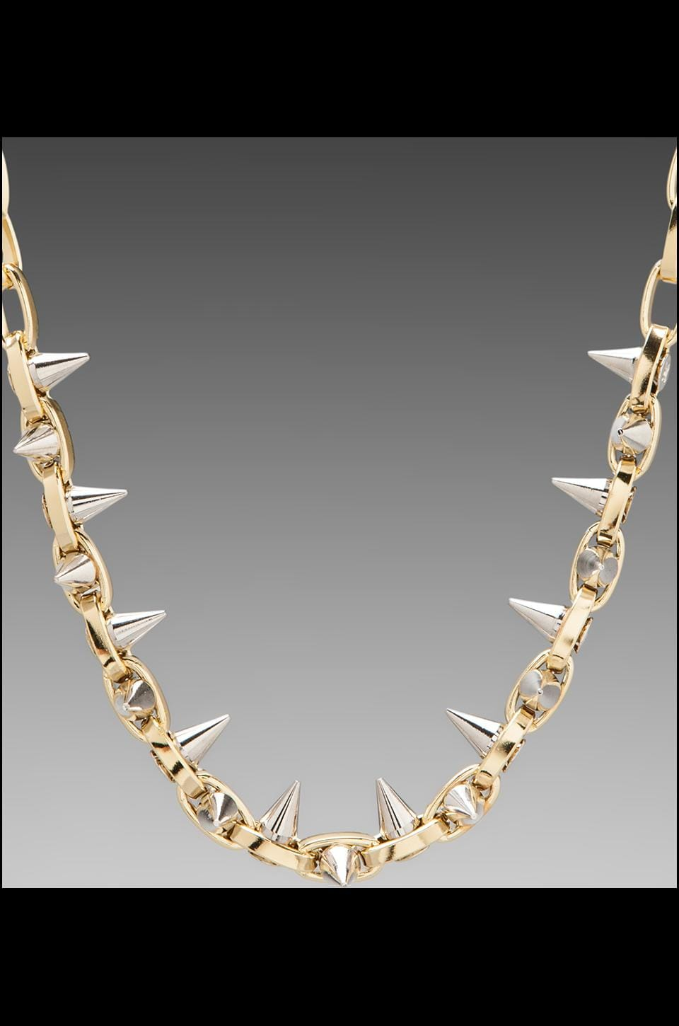 JOOMI LIM Double Row Spike Choker in Gold/Silver Spikes