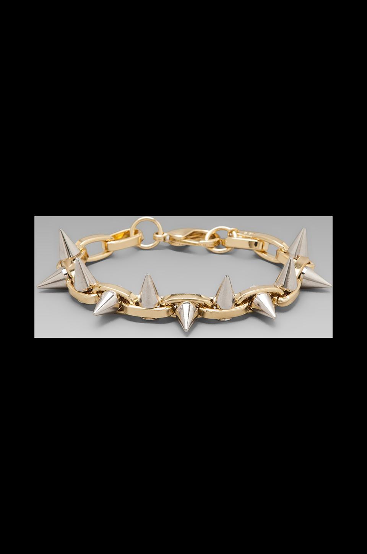 JOOMI LIM Double Row Spike Bracelet in Gold/Silver Spikes