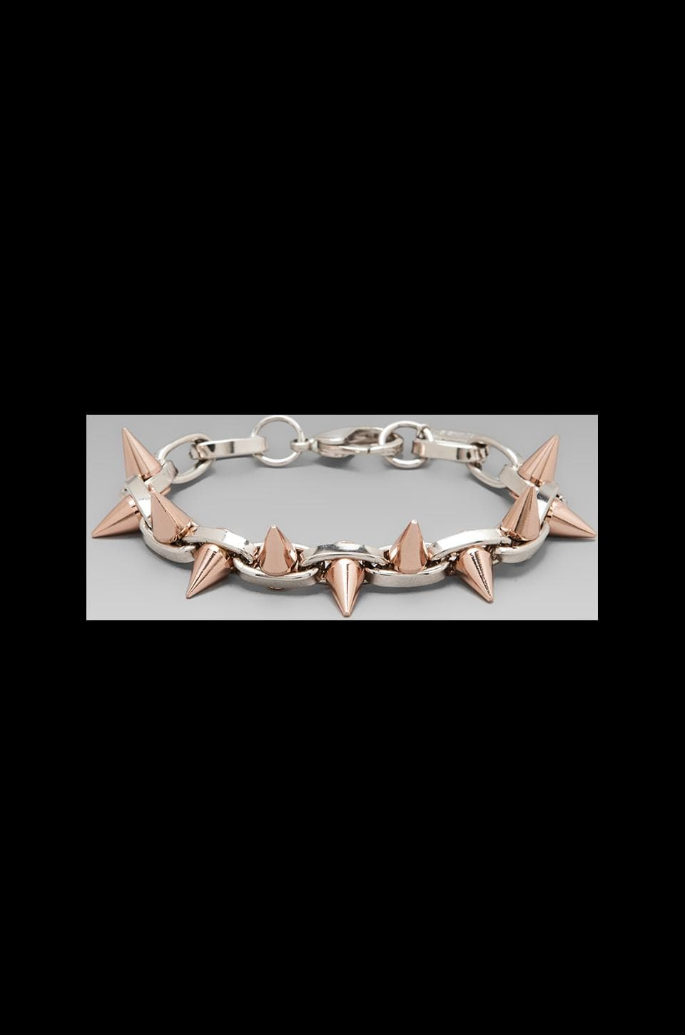 JOOMI LIM Double Row Spike Bracelet in Rhodium/Rose Gold Spikes