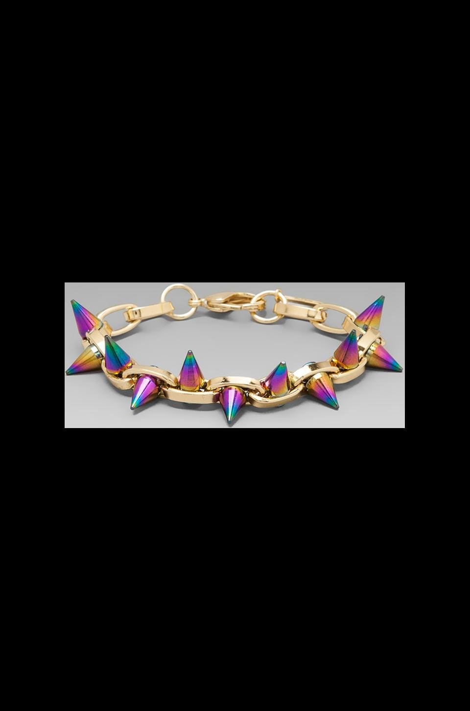 JOOMI LIM Double Row Spike Bracelet in Gold/Rainbow