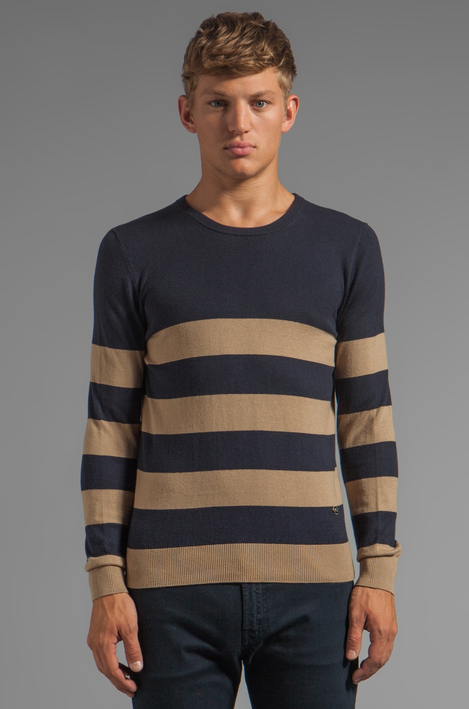 J. Lindeberg Terry Stripe Sweater in Dark Navy