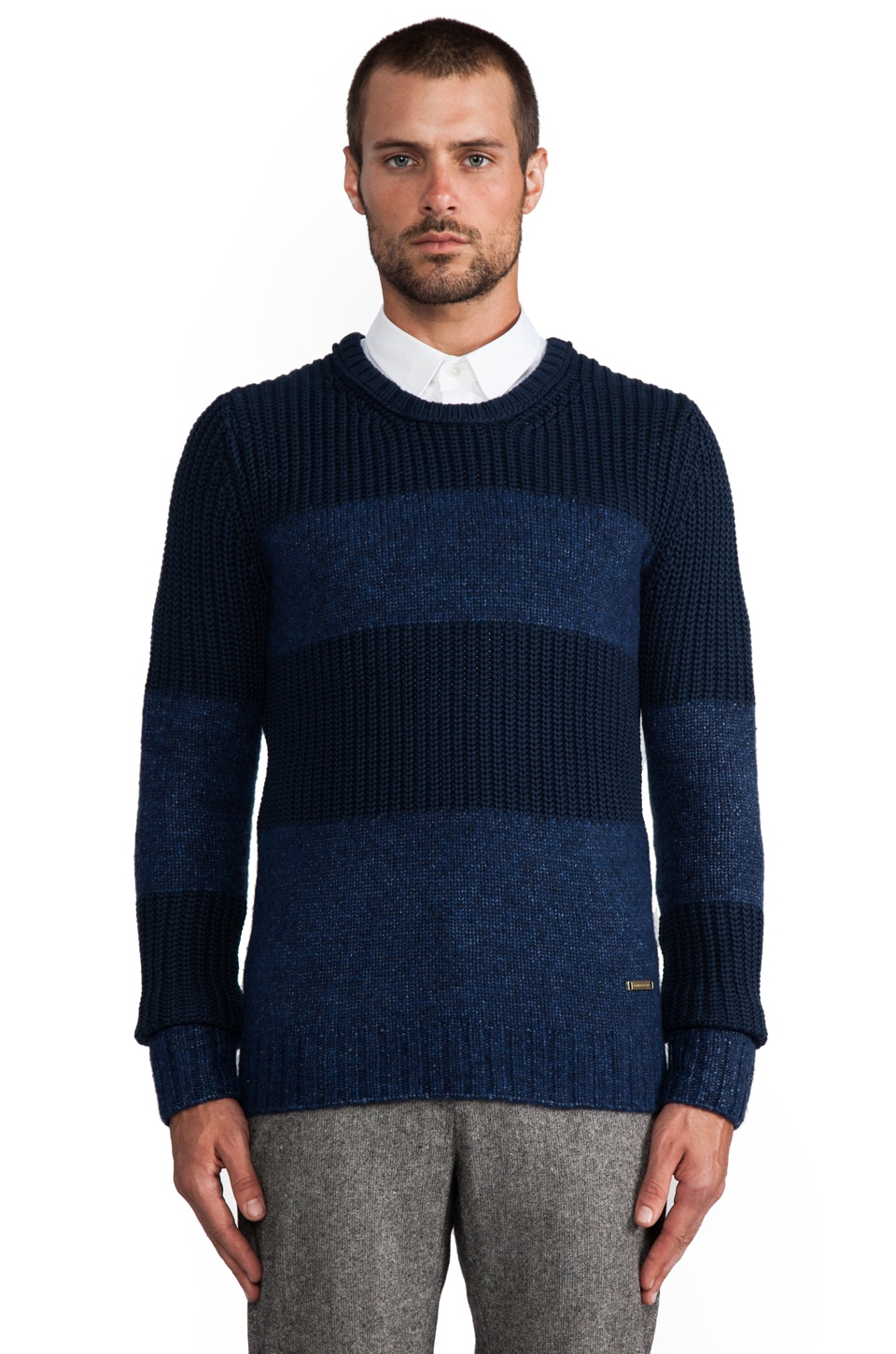 J. Lindeberg Cable Stripe Sweater in Indigo Blue
