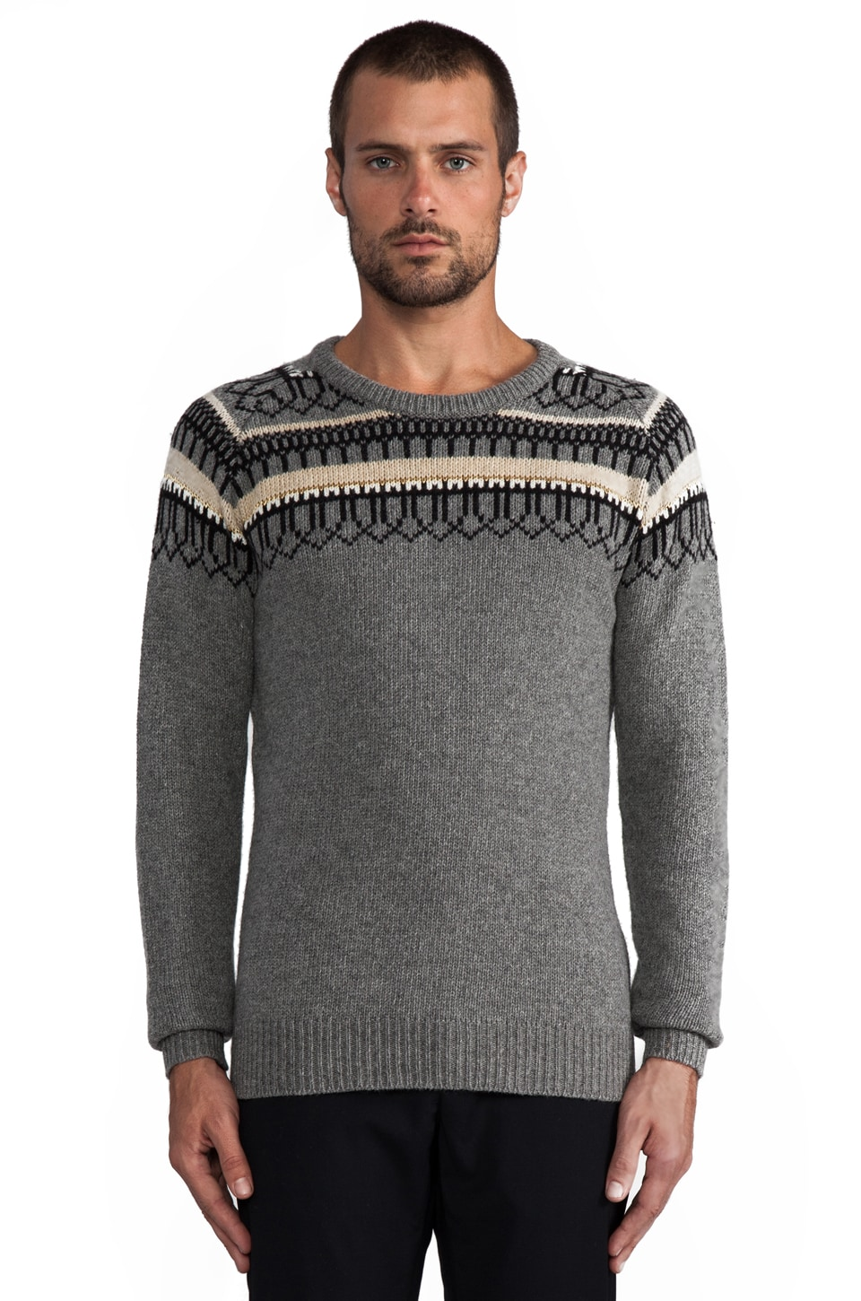 J. Lindeberg Finn Jacquard Sweater in Light Grey Melange