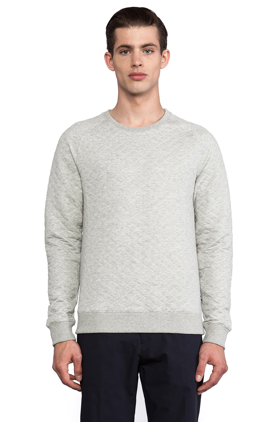 J. Lindeberg Chad 2.0 Quilted Jersey Pullover in Light Grey Melange