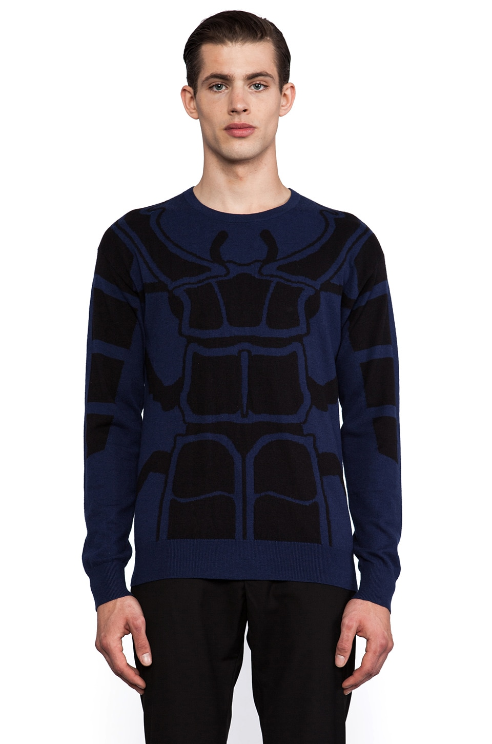 J. Lindeberg Molaro Bug Intarsia Sweater in Dark Blue