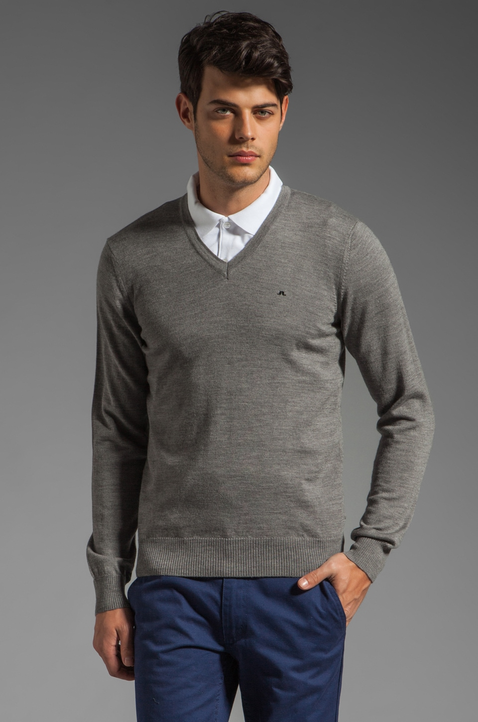 J. Lindeberg Lymann True Merino Sweater in Grey Melange