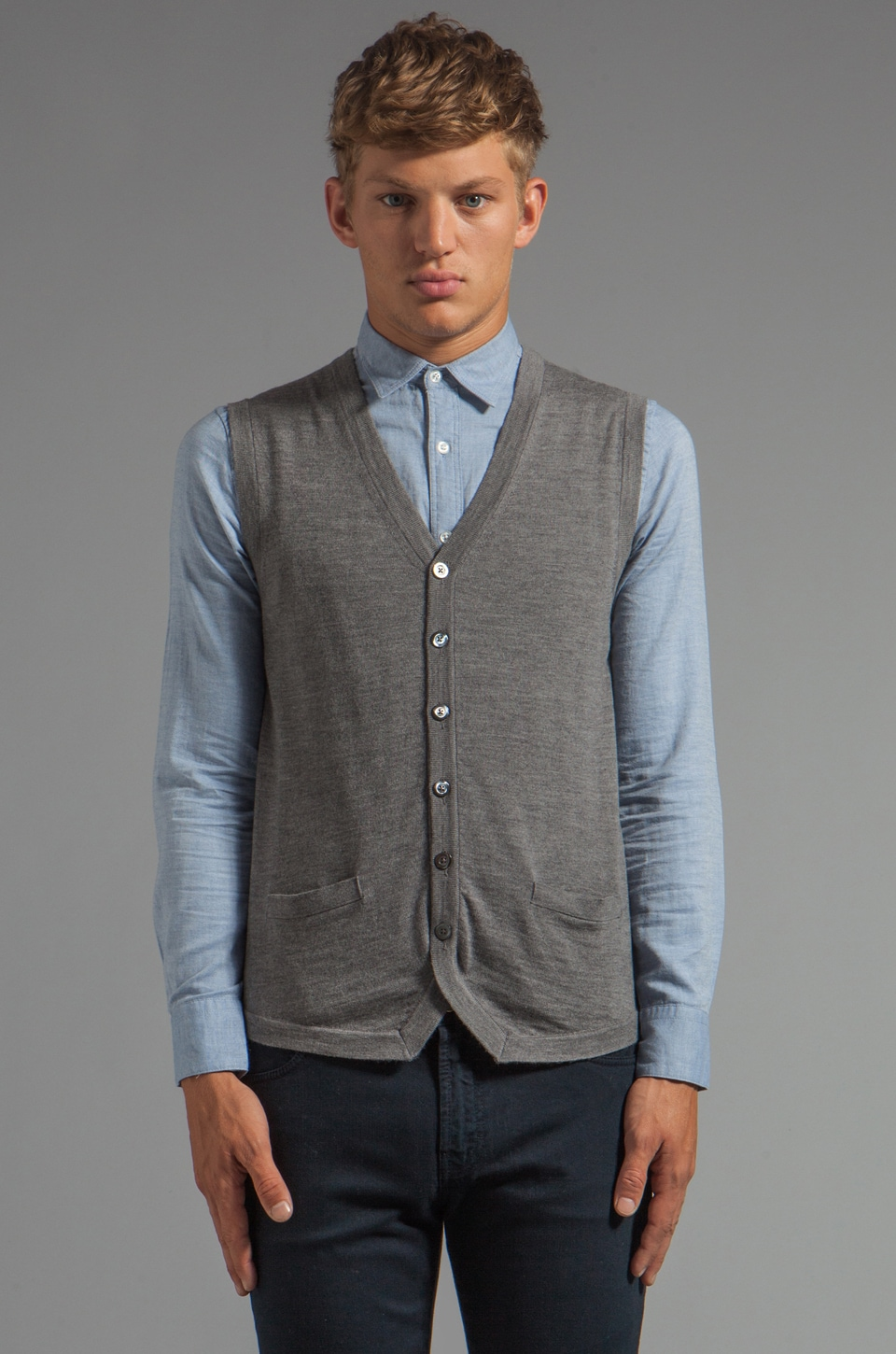 J. Lindeberg Nestor Sweater Vest in Grey Melange