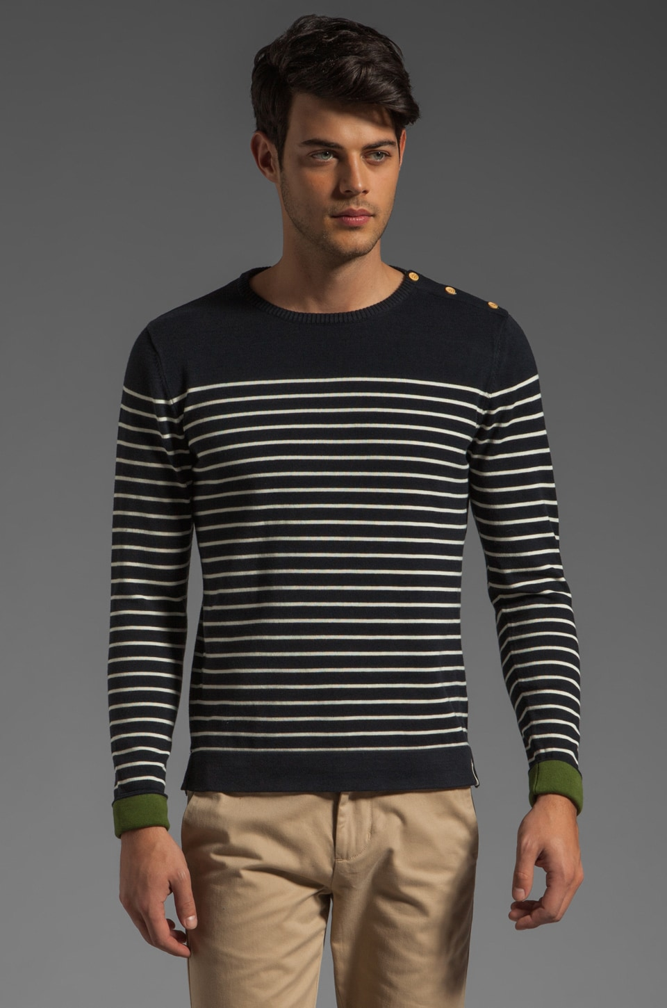 J. Lindeberg Shipley Stripe Knit Pullover in Dark Navy