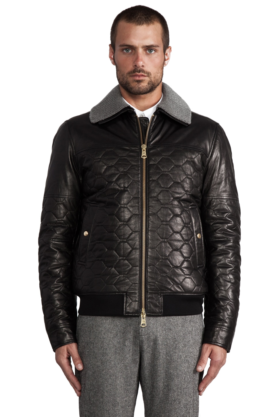 J. Lindeberg Cevin Quilted Leather Jacket in Black
