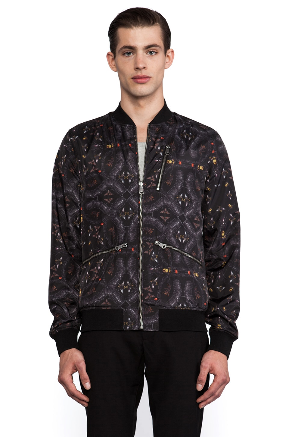 J. Lindeberg Thom Reversible Wool Bomber in Black