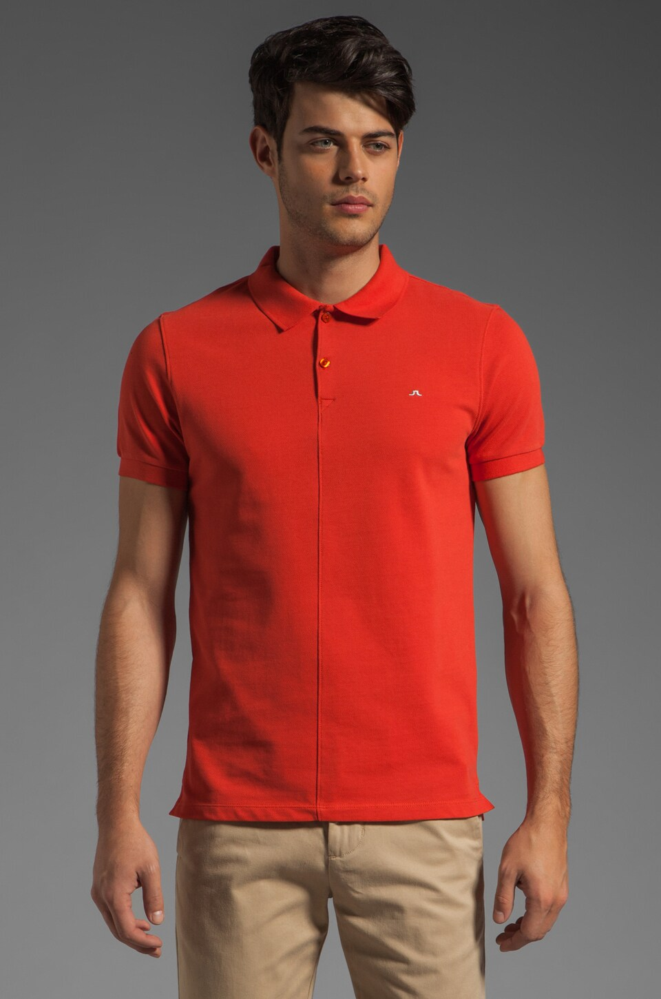 J. Lindeberg Rubi Slim JL Pique Polo in Red Coral