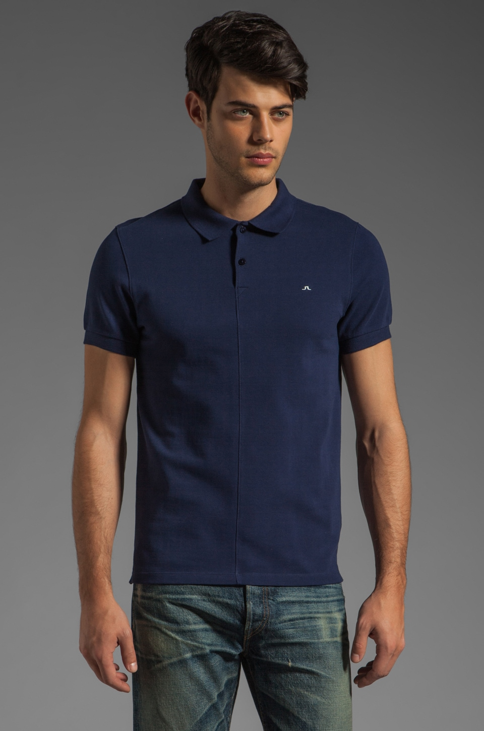 J. Lindeberg Rubi Slim JL Pique Polo in Dark Blue/Purple