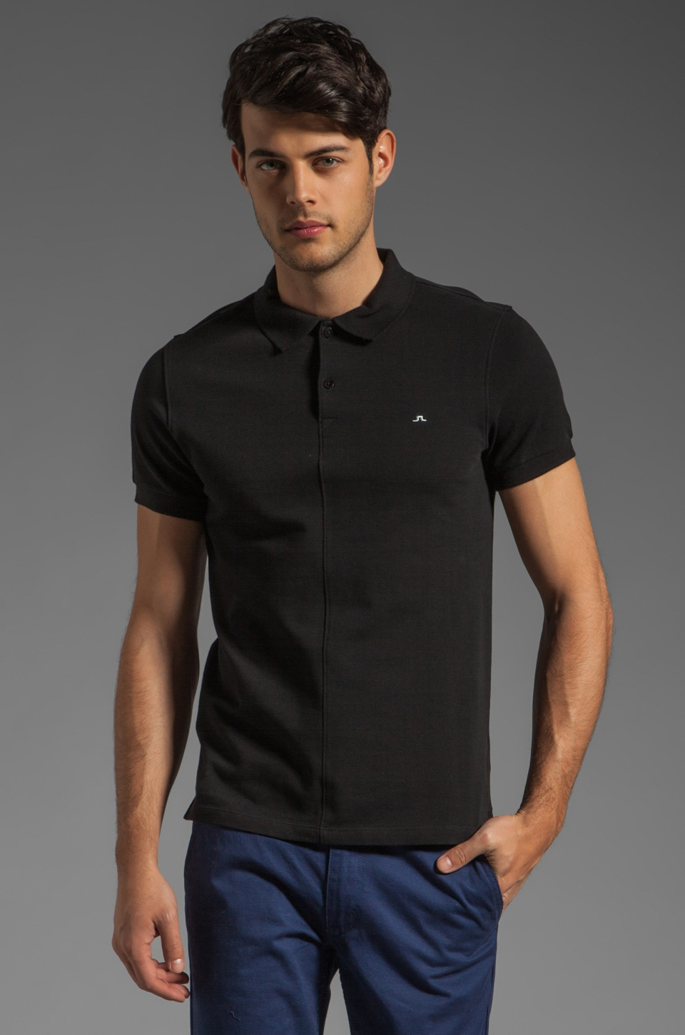 J. Lindeberg Rubi Slim JL Pique Polo in Black