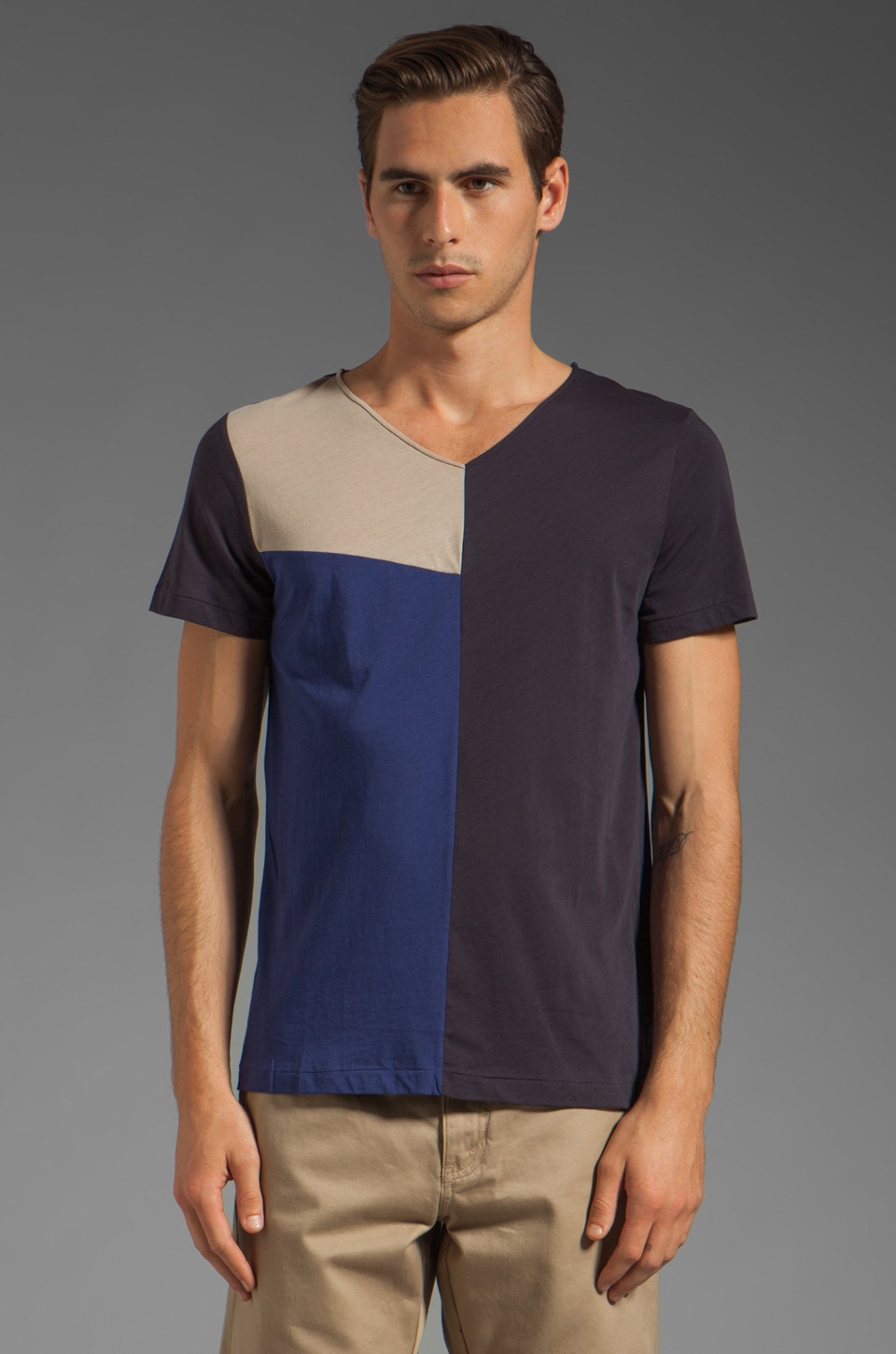 J. Lindeberg Mykola Block Prime Jersey Tee in Dark Blue/Purple