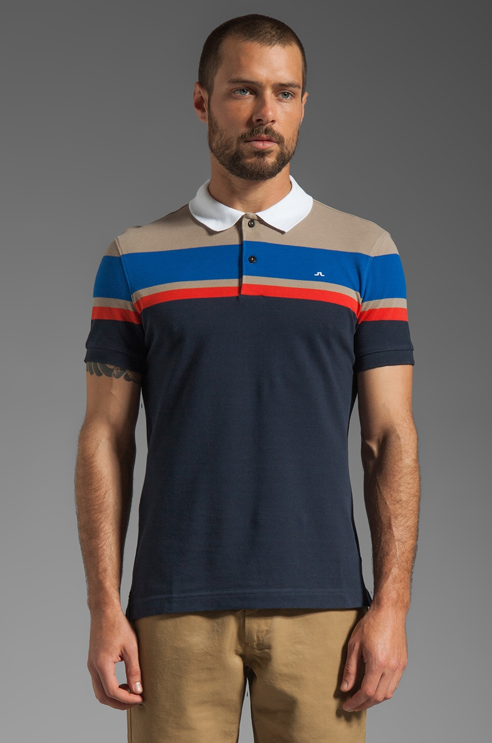 J. Lindeberg Neilo Stripe Line Pique Polo in Warm Light Brown