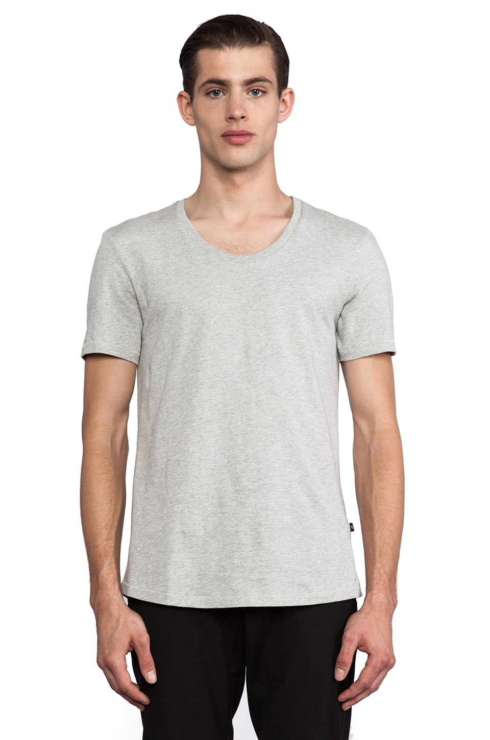J. Lindeberg Axtell Scoop Jersey Tee in Light Grey Melange