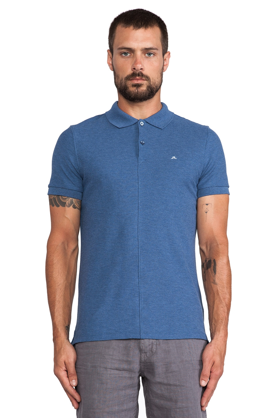 J. Lindeberg Rubi Slim Polo in Blue Melange