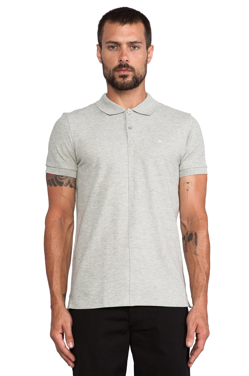 J. Lindeberg Rubi Slim Polo in Grey Melange