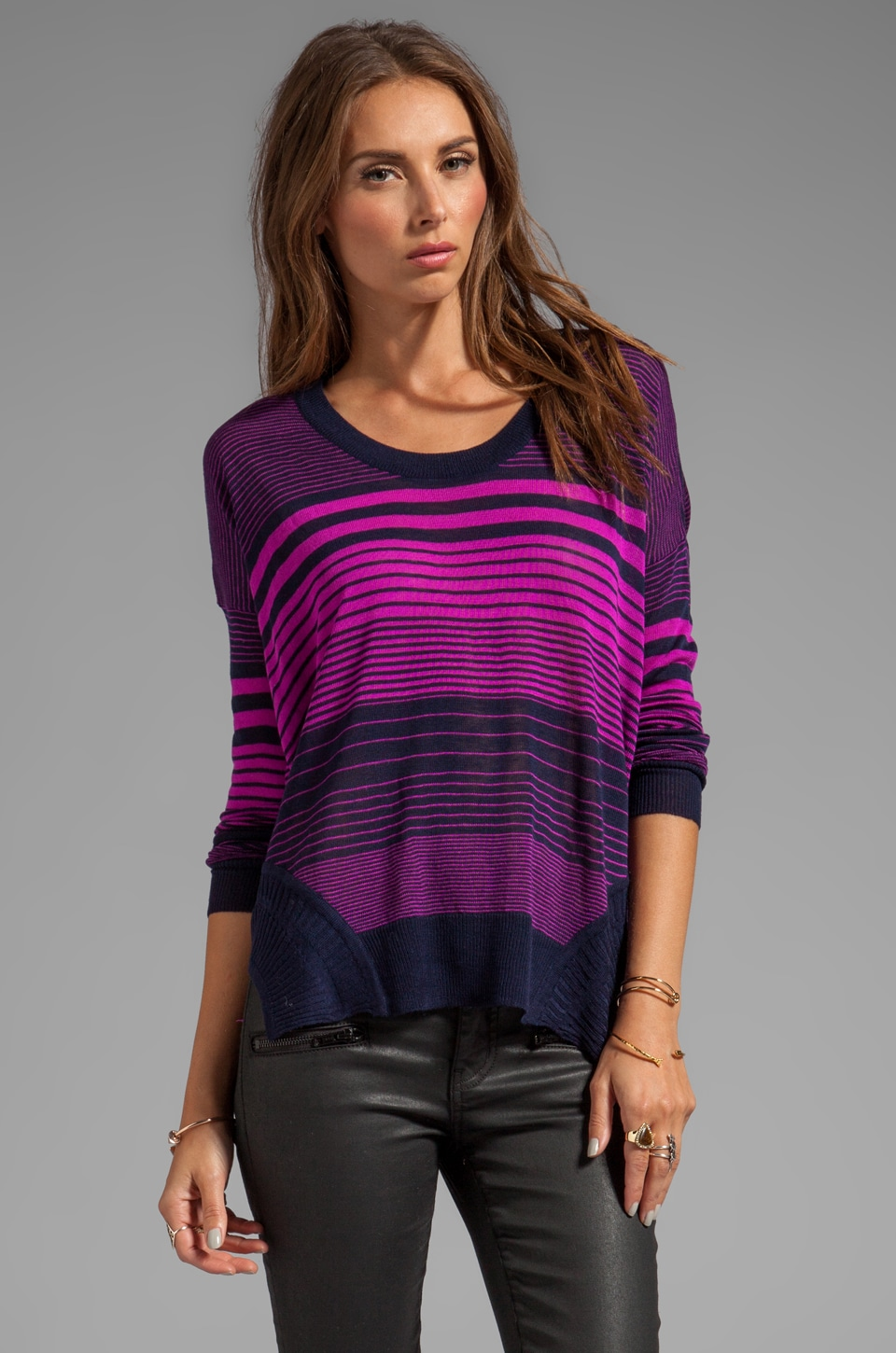 John & Jenn by Line Cait Striped Sweater in Pink Thrill
