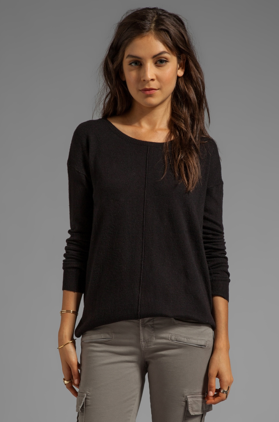John & Jenn by Line Harriett Crew Neck Sweater in Caviar