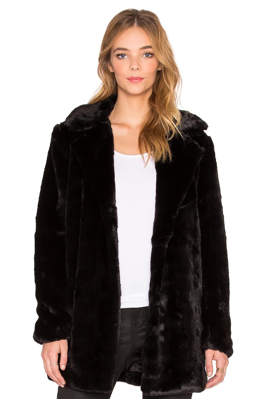 John & Jenn by Line Faux Fur Coat in Caviar