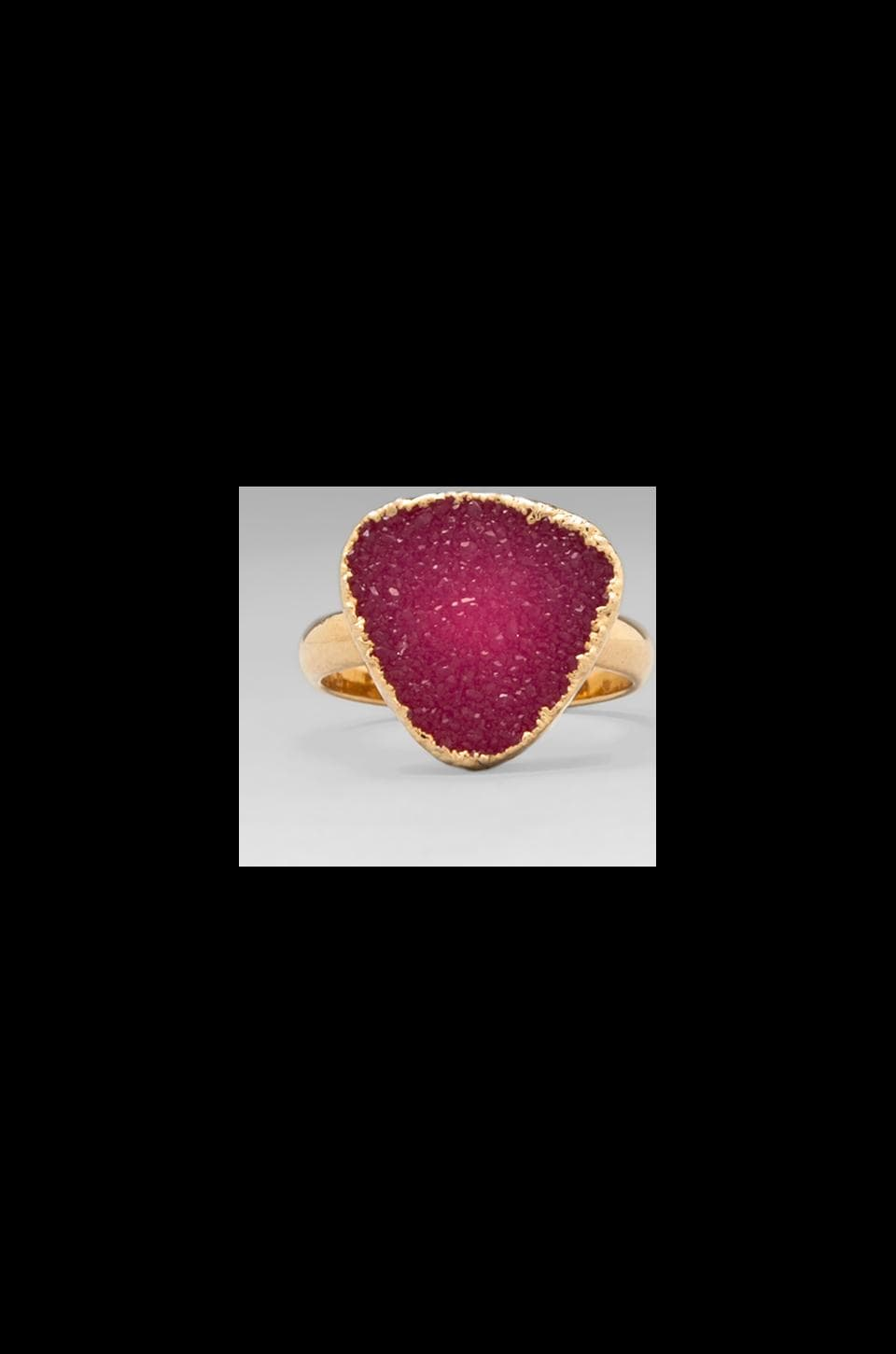 JNB Adriana Classic Band Ring in Gold/Pink