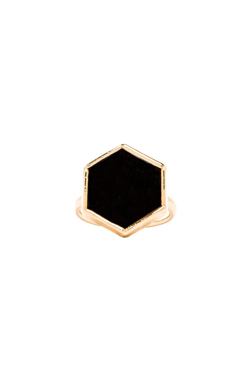 JNB Hexagon Ring in Onyx