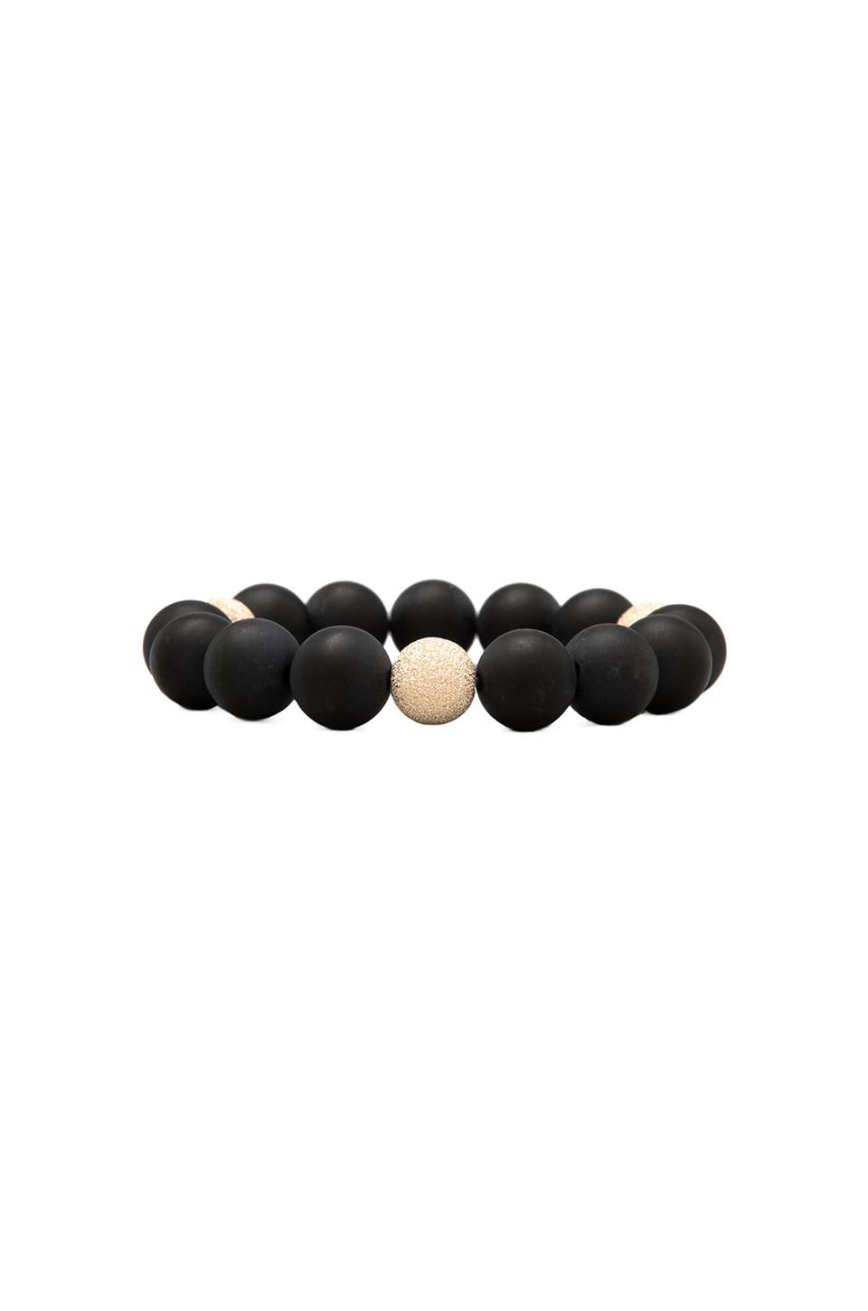 JNB Round Smooth Beaded Bracelet in Matte Black Onyx