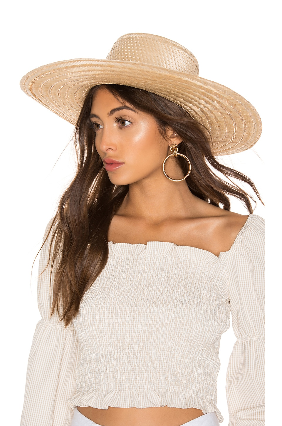 Janessa Leone Elsa Boater Hat in Natural