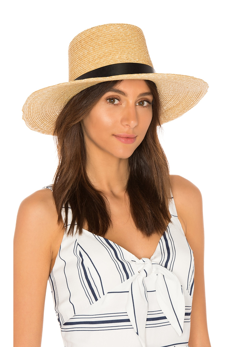Janessa Leone Ruth Boater Hat in Natural