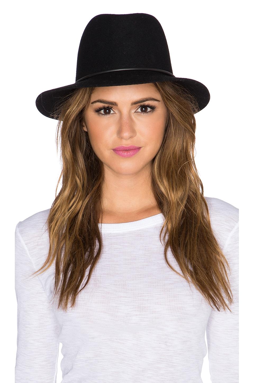 Janessa Leone Onyx Hat in Black & Matte Black